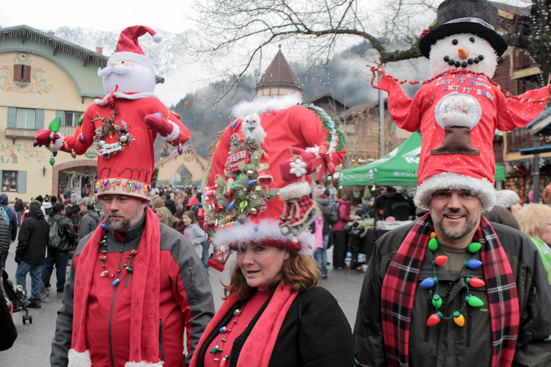 Hats Off To Christmas.Crazy Hat People In Leavenworth